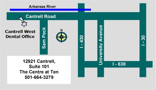 Local Map to Cantrell West Dental